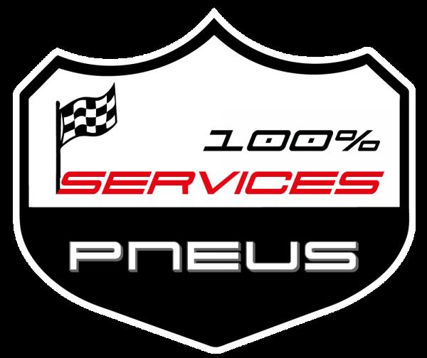 Logo 100 services n b rouge avec contour blanc